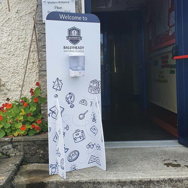 branded school sanitiser dispenser